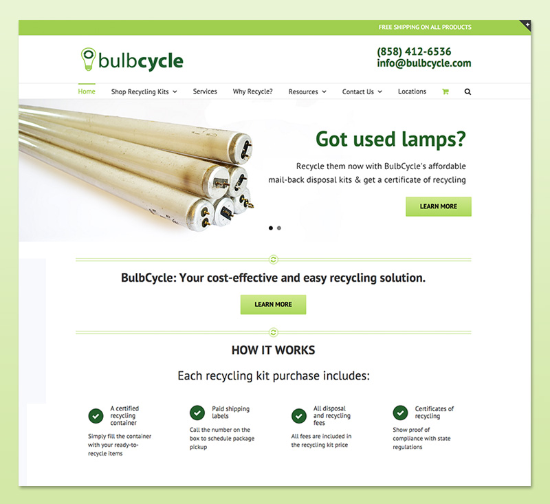 BulbCycle homepage screenshot
