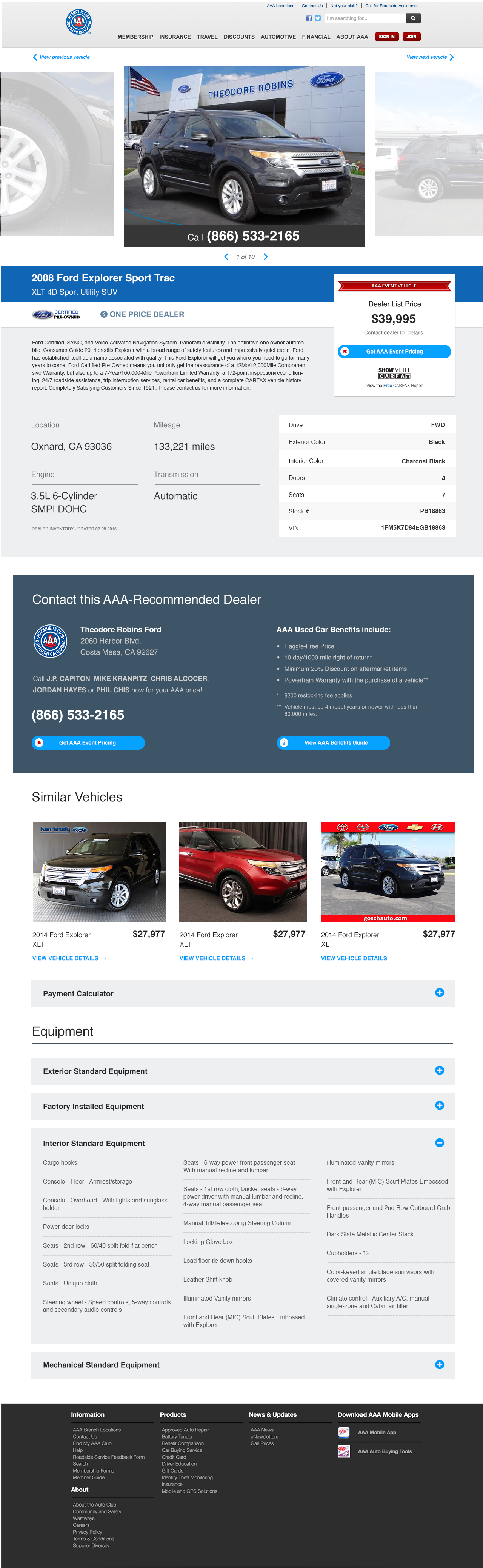 AAA Vehicle details page - desktop